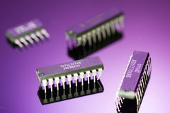Integrated circuits. Set of digital ICs (integrated circuits royalty free stock photo