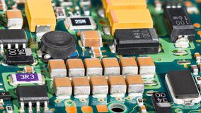 Integrated circuits. Surface mount technology. Electronic components stock image