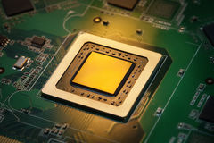 Integrated CPU in golden light Royalty Free Stock Photography