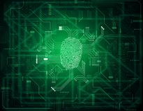Integrated fingerprint in electronic computer circuit board.  Royalty Free Stock Photo