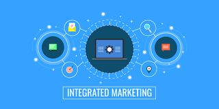 Free Integrated Marketing, Business Connection, Digital Promotion And Management Concept. Flat Design Marketing Vector Banner. Royalty Free Stock Images - 109826589