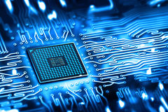 Integrated microchip. Abstract  microchip integrated on motherboard Stock Photography