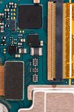 Integrated semiconductor microchip microprocessor on blue circuit phone board stock images