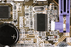 Integrated semiconductor microchip microprocessor on circuit board representative of the high tech industry and computer science.  Stock Image