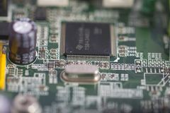 Integrated circuits in a motherboard Stock Photography