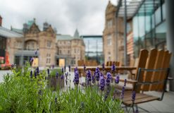 Integratie van middeleeuwse en moderne architectuur in Edinburgh, Sc stock foto's