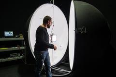 Integrating sphere photometer ball in the enterprise laboratorie Stock Image
