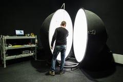 Integrating sphere photometer ball in the enterprise laboratorie Stock Photo