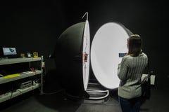 Integrating sphere photometer ball in the enterprise laboratorie Stock Photos
