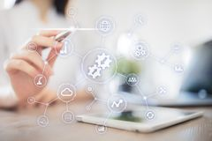 Integration concept. Industrial and smart technology. Business and automation solutions. Integration concept. Industrial and smart technology. Business and royalty free stock image