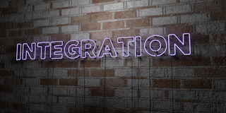 INTEGRATION - Glowing Neon Sign on stonework wall - 3D rendered royalty free stock illustration. Can be used for online banner ads and direct mailers Stock Photos