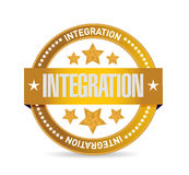 Integration gold seal sign illustration Stock Image