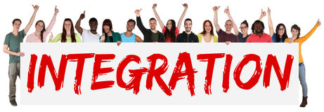 Integration group of young multi ethnic people holding banner Royalty Free Stock Photos