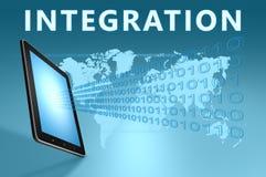 Integration. Illustration with tablet computer on blue background Stock Images