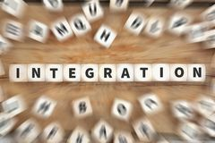 Integration immigrants refugees immigrant refugee dice business. Concept idea Stock Image