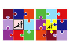 Integration and Inclusion. Concept sign to demonstrate two different educational systems Stock Photography