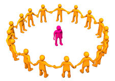 Integration. Orange cartoon character in a circle with a pink toon Stock Photography