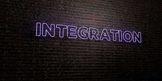 INTEGRATION -Realistic Neon Sign on Brick Wall background - 3D rendered royalty free stock image Royalty Free Stock Image