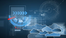 Integration technology with nature, sky. Best ideas for Business. Model of Integration technology with cloud in the sky. Best ideas for Business presentation Stock Photography