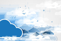 Integration technology with nature, sky. Best ideas for Business. Model of Integration technology with cloud in the sky. Best ideas for Business presentation Royalty Free Stock Photos