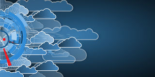 Integration technology with nature, sky. Best ideas for Business. Model of Integration technology with cloud in the sky. Best ideas for Business presentation Royalty Free Stock Image