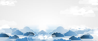 Integration technology with nature, sky. Best ideas for Business. Model of Integration technology with cloud in the sky. Best ideas for Business presentation Royalty Free Stock Images