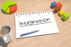 Integration text concept. Integration - text concept with notebook, coffee mug, bar graph and pie chart on wooden background - 3d render illustration Stock Image