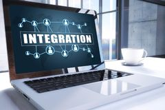 Integration. Text on modern laptop screen in office environment. 3D render illustration business text concept Stock Photo