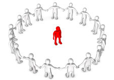 Integration. White cartoon character in a circle with a red toon Stock Images