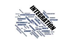 INTEGRATION - word cloud wordcloud - terms from the globalization, economy and policy environment. Wordcloud with series of terms from the globalization, economy Stock Photos