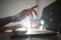 Integrationsbegrepp Industriell och smart teknologi Affärs- och automationlösningar arkivbilder