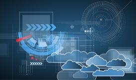 Integrationsteknologi med naturen, himmel Mest bra idéer för affär Arkivbild