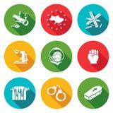 Integrazione europea delle icone dell'Ucraina messe Illustrazione di vettore Immagini Stock Libere da Diritti