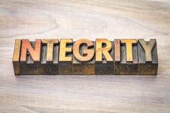 Integritätswortzusammenfassung in der hölzernen Art stockbild