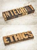 Integriteit en ethiekwoorden stock afbeeldingen