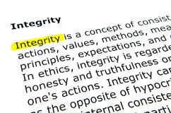 Integrity. Text highlighted in yellow with felt tip pen Stock Image