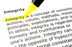 Integrity. Text highlighted in yellow with felt tip pen Stock Photos