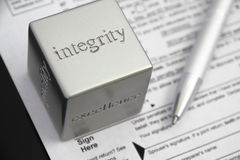 Integrity. Tax preparation integrity concept Stock Image