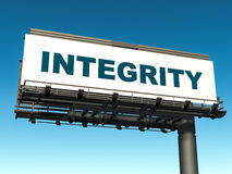 Integrity. Business integrity concept, word integrity on a large billboard against an empty blue sky Stock Photo