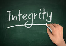 Integrity chalkboard write concept 3d illustration Stock Photos