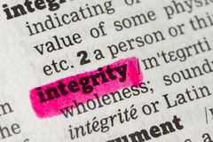 Integrity  Dictionary Definition Stock Photo
