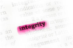 Integrity  Dictionary Definition Royalty Free Stock Image