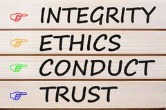 Integrity Ethics Conduct and Trust Concept. Integrity Ethics Conduct and Trust written on wood wall decor. Business concept royalty free stock photography