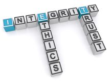 Integrity ethics and trust. 3d letters blocks in a crossword puzzle shape spelling integrity, ethics and trust with a white background Royalty Free Stock Photos