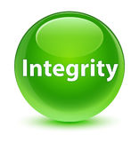 Integrity glassy green round button Royalty Free Stock Photography