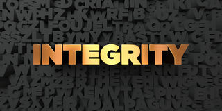 Integrity - Gold text on black background - 3D rendered royalty free stock picture. This image can be used for an online website banner ad or a print postcard Stock Photos