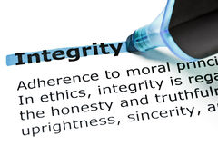 Integrity highlighted in blue Royalty Free Stock Image