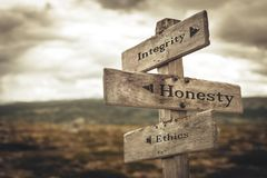 Integrity, honesty and ethics signpost in nature.