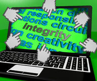 Integrity Laptop Screen Shows Morality Virtue And Decency Royalty Free Stock Image