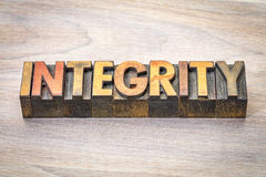 Integrity word abstract in wood type stock image